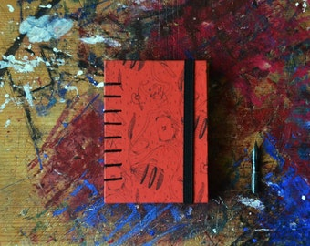 Jane Eyre travel coptic sketchbook. A7 hand bound coptic book with hard cover. Red black journal for book lover