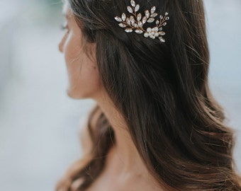 Gold Pearl Headpiece | Bridal Hairpin | Rhinestone Hair pins | Wedding Hair Accessories | Bridal Hair Comb [Senna & Liv Hairpin Set of Two]