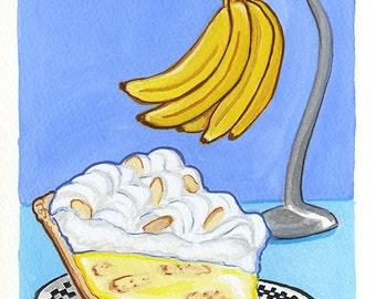 Original Art, Banana Cream Pie, Gouache Painting
