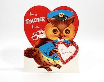 Vintage Valentine's Day TEACHER'S Card OWL Red Heart Unused Paper Ephemera Envelope PeachyChicBoutique