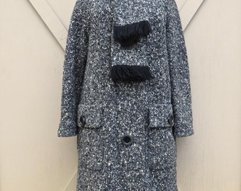 Mid Century vintage Black, White and Grey Flecked Woven Wool Coat with Attached Matching Fringed Scarf / Moregode Exclusive / Made in France