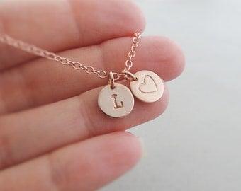 Rose Gold Bracelet - initial + heart - Personalised Jewellery - Monogram Jewelry - charm bracelet - monogram bracelet - best friend gifts