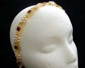Renaissance Tiara Headband, Medieval Crown, Victorian Headpiece, Elizabethan Headband, Tudor Headpiece for Faire Cosplay Wedding Dress Gown