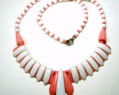 Pink N White Glass Art Deco Necklace, 1940s Beaded Soft Statement,  Modernist Classic Geometry, Pretty in PINK