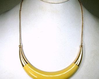 Minimalist Yellow Enamel Crescent BIB on Gold Chain, 1970s, Unused Necklace