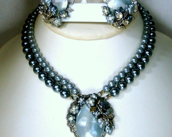 GLAM Gray Pearls Choker w Matching Clips, Rhinestones n Faux MOP Dressy Adjustable Set, 1960s