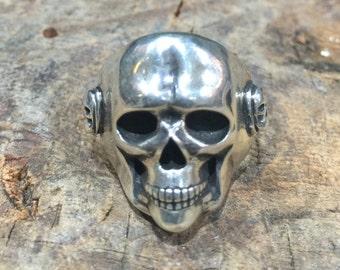 R35 Solid 20mm Sterling Silver Classic Skull Ring Biker Goth Badass Southwestern Native Style
