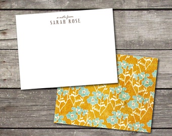 Personalized Set of 10 Floral Gold & Aqua Custom Notecards for Teacher Gift Coworker Gift Thank You Notes or Personal Stationery