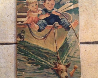 1940 Two Children in a Boat Antique Illustration
