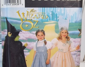 Girl's Wizard of Oz Costumes Simplicity 0631 Sewing Pattern, Toddler Glenda, Wicked Witch, Dorothy, Dress Up Cape Hat Wand  Size 3 - 8 UNCUT