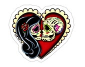 Ashes Sticker - Day of the Dead Lovers - Sugar Skull Kissing Couple in Heart Decal