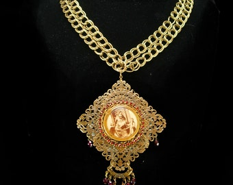 Vintage French Necklace LARGE religious antique icon Red garnet victorian portrait necklace BIG statement necklace