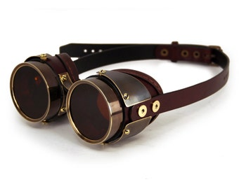 STEAMPUNK GOGGLES dark brown leather blackened brass QUAD