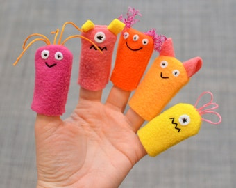 Monster Finger Puppets: Pink, Orange, & Yellow (5 pack)