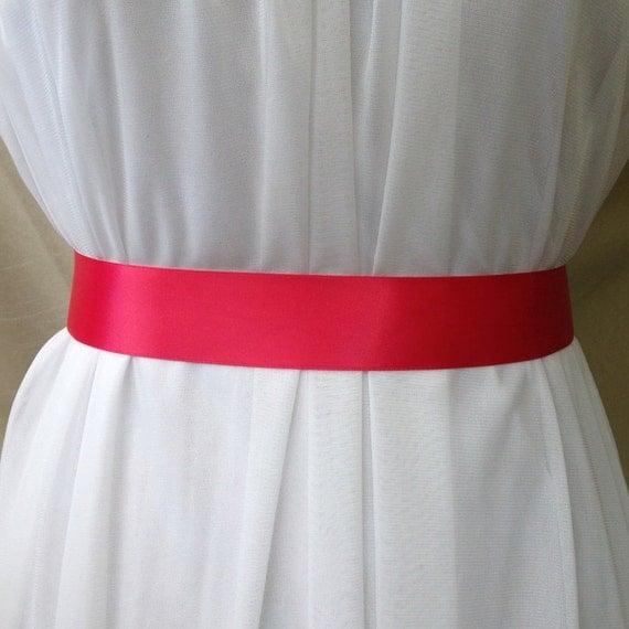 Dark Pink Double Sided Satin Bridal Sash Belt Plain 1.5 inches Wide