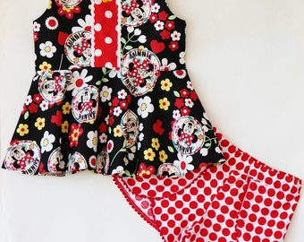 Girls red and white polka dot coachella shorts-  Sz 6mo-7yrs