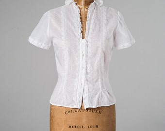 Vintage 50s White Cotton Eyelet Lace Blouse, 1950s Lace Embroidered Blouse, Short Sleeves, Fitted, Women's Clothing, Tops & Tees, Blouses