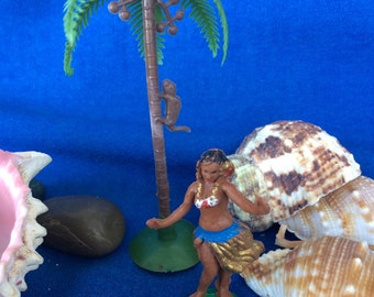 Vintage Hula Girl, Monkey and Palm Tree Cake Cupcake Decoration Toppers Retro 60's 70's
