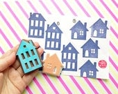 house silhouette stamp. town house hand carved rubber stamp. DIY birthday christmas scrapbooking. holiday gift wrapping. choose option