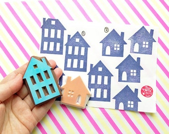 house silhouette stamp. town house hand carved rubber stamp. DIY birthday christmas scrapbooking. holiday gift wrapping. gift for her
