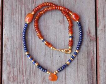 Lapis Lazuli and Carnelian Necklace, Lapis Lazuli Carnelian, Boho Necklace, Lapis Lazuli Necklace, Carnelian Necklace, Yoga Necklace