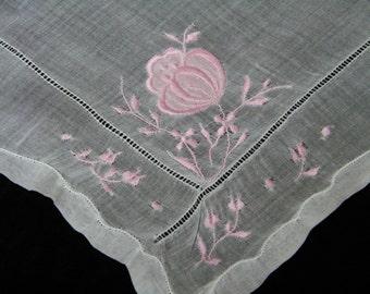 Vintage 1960's Embroidered Pink Floral Wedding Handkerchief, Hankie, Hanky, 9768