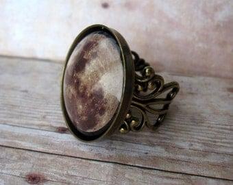 Large Full Moon Filigree Ring - Adjustable - Handmade - Boho - Bohemian Jewelry - Antique Brass or Silver