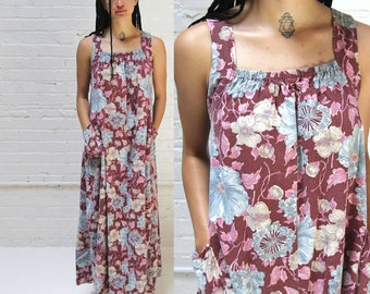mendocino coast -- vintage long floral cotton maxi dress S/M/L
