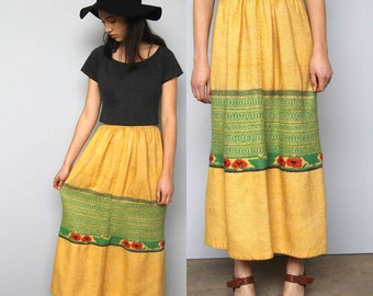 yellow mountain -- vintage 60s woven guatemalan skirt XS