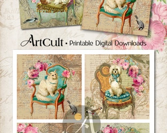 Printable download MY LITTLE ZOO Digital Collage Sheet 3.8x3.8 inch size Images for coasters, greeting cards, scrapbooking paper by Art Cult