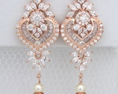 Rose Gold Bridal earrings, Chandelier Wedding earrings, Bridal jewelry, Art Deco Earrings, Long earrings, Pearl earrings, Statement EMMA