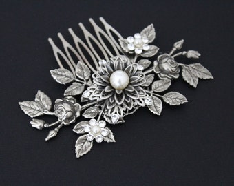 Antique Silver Hair comb, Wedding headpiece, Bridal hair comb, Leaf headpiece, Wedding hair piece, Vintage style hair comb, Hair clip