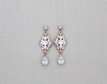 Rose Gold earrings, Bridal earrings, Wedding earrings, Bridal jewelry, Swarovski earrings, Crystal earrings, Vintage style earrings, ASHLYN