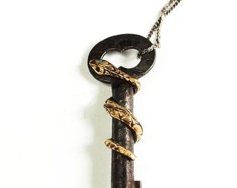 Steampunk Necklace, Snake Key Necklace