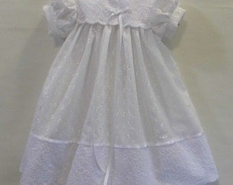 White eyelet lace lined baptism, Christening, blessing, Gown, dress