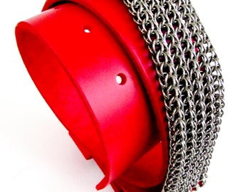 Red Leather Belt - Chainmaille - Hand-Tooled