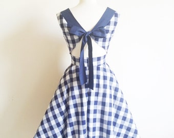 Gingham Dress, 1950's Style Dress, Open Back Dress, Pin Up Girl Dress, Rockabilly Dress, Sizes: UK 4-20/ US 0 -16, Choice of Colour
