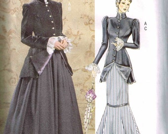 Steampunk Jacket Mermaid Skirt Butterick 4954 Sewing Pattern Historical Edwardian 1900s Period Plus Size 8 10 12 14 Bust 31.5 32.5 34 36