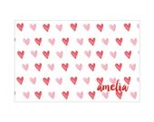 Personalized Placemat - Valentine's Day Hearts