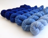 Hand-dyed Merino Sport Gradient Set - approx 360 yds - ROYAL
