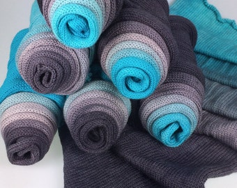 Hand Dyed Ombre Gradient Sock Blank - single stranded 100g merino - MODERN STAINLESS