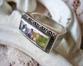 Vintage Art Deco ring, Art Deco gemstone ring, Vintage silver Art Deco ring, Art Deco ring, multi gemstone ring