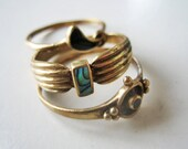 Antique ring lot, French ring lot, Art Deco ring lot, brass ring lot, ring lot, antique brass ring, 1920 ring lot