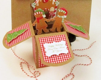 Gingerbread Christmas Pop Up In Box Handmade - Gingerbread House - Gingerkids - Custom Personalized Card - Keepsake One of A Kind