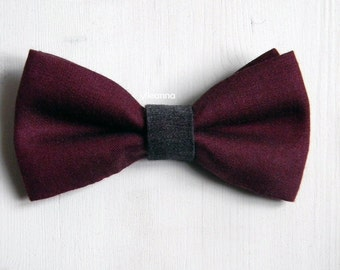 Men bow tie - Wool bowtie - Italian bowtie -  Pre tied bow tie - Made in Italy - Burgundy, charcoal grey.