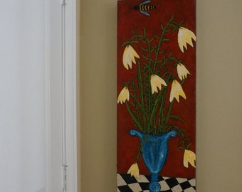 Original, Large Folk Painting, Textural Floral Painting, Warm Colors