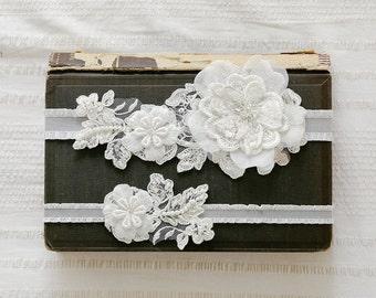 Ivory lace wedding garter set, keepsake garter, tossing garter, bridal lace garter set - style 408 set