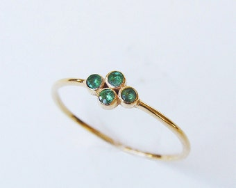 SALE Emerald Gold Ring Multistone