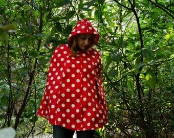Red Polka Dot Raincoat, Vintage Inspired Cape with Hood, Waterproof, Unisex Rain Jacket Raincape