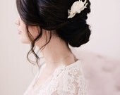 Chiffon hair comb, ivory hair comb, bridal, lace hair comb - style 2004